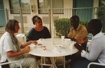 Break with Yvette Abrahams, KhoeSan, Gad Osafo and Wilhemina Donkoh, Akan, from Africa (from left to right)