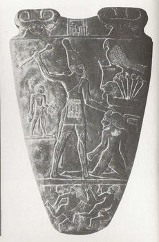 Pharao Narmer subjugates an indigenous people, Narmer Palette, Egypt