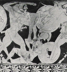 Hercules kills amazons, Greek vase painting