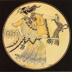 Dancing Maenad, painted Greek vessel