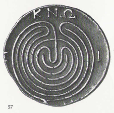 Labyrinth, dancing place of the Muses, Greek coin